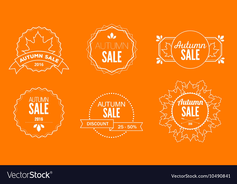 Autumn Sale Discount Logos and Emblems vector image