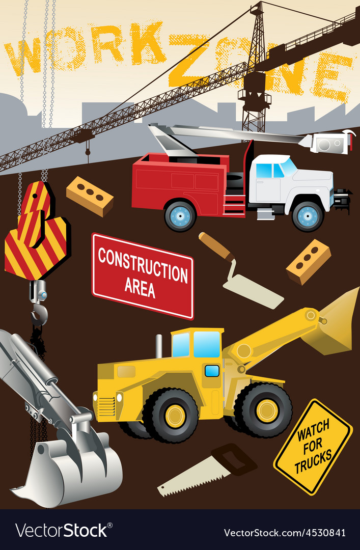 Work Zone Construction vector image