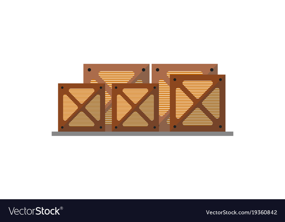 Wooden boxes on pallet icon vector image