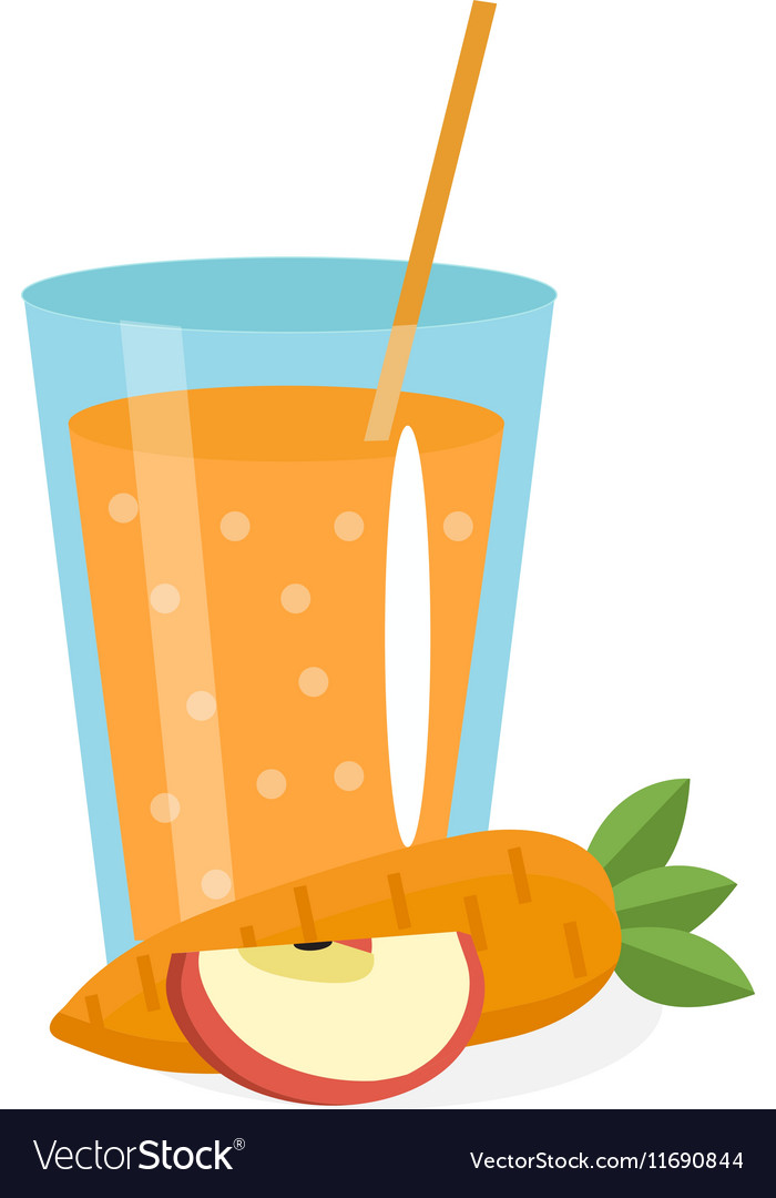 Carrot and apple juice in a glass Fresh vector image
