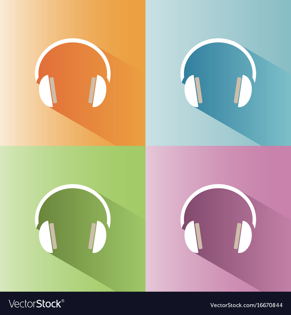 Headphones icon on a colored background vector image