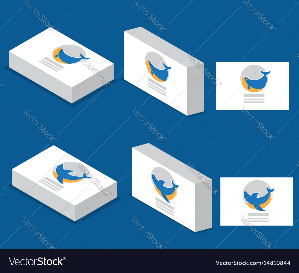 Whale and shark logo with business card vector image