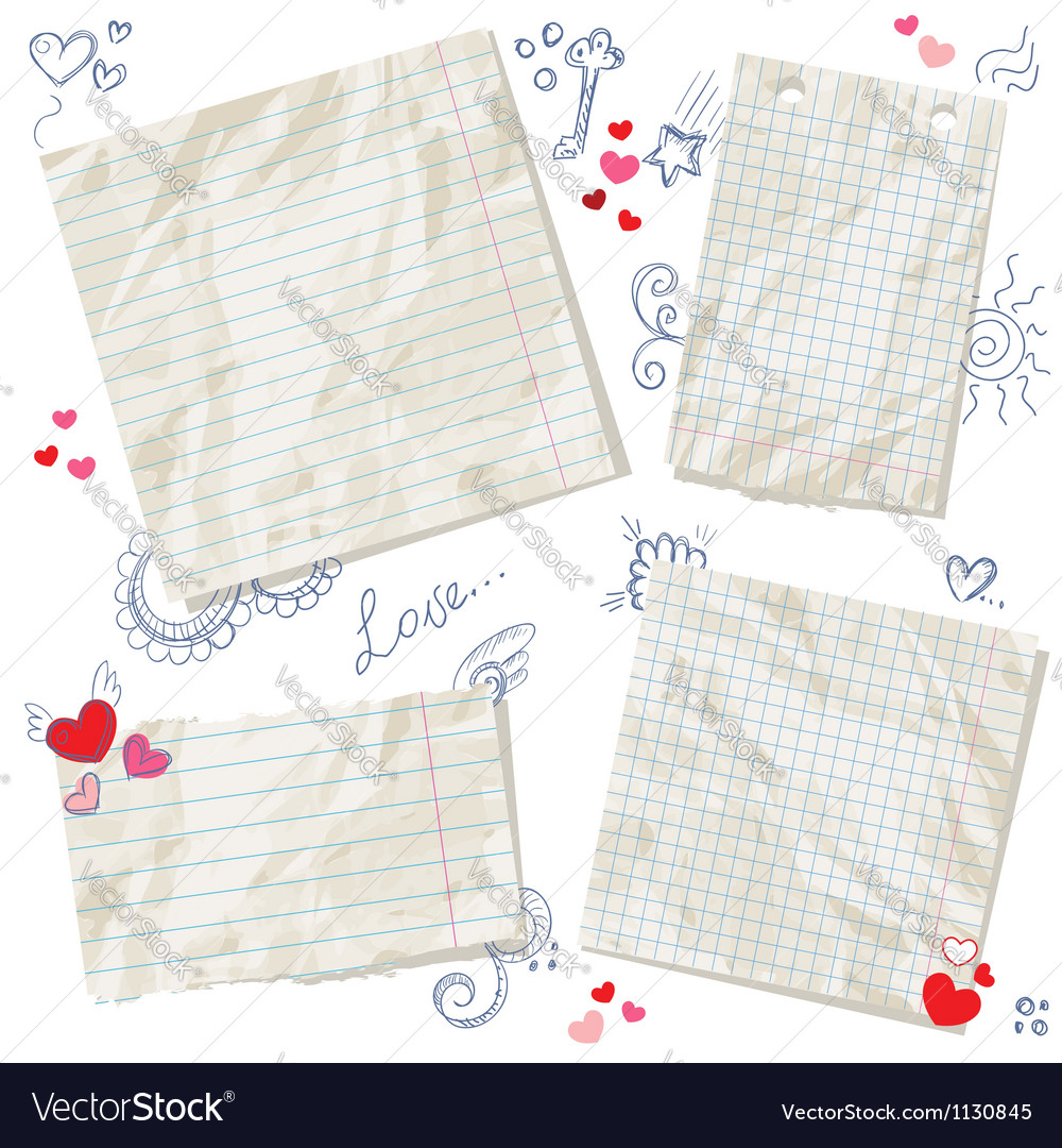 Scraps of paper isolated with hearts vector image