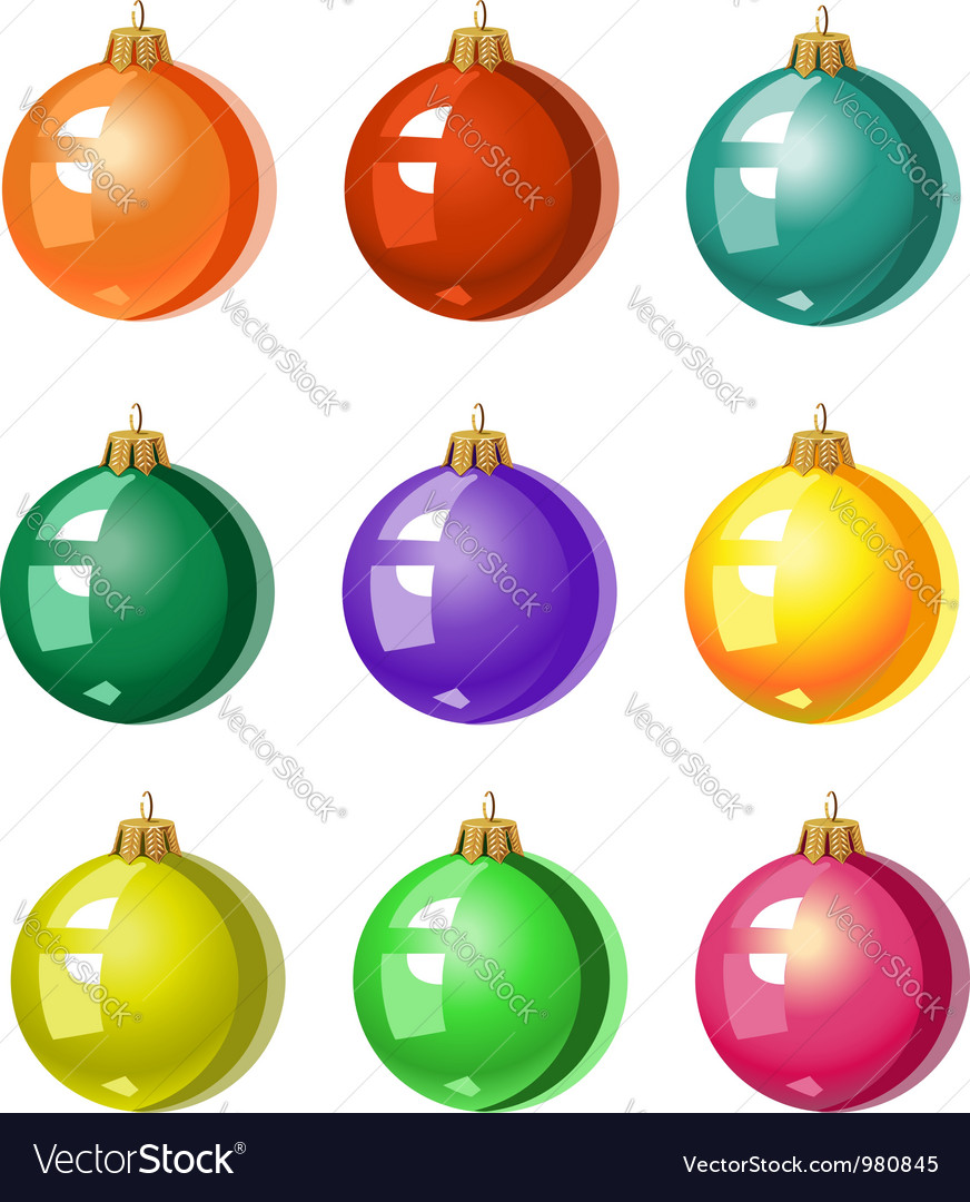 A Set Of Christmas Tree Ornaments Colored Balls Vector Image