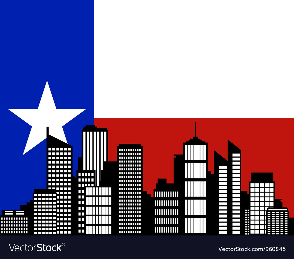 City and flag of Texas vector image