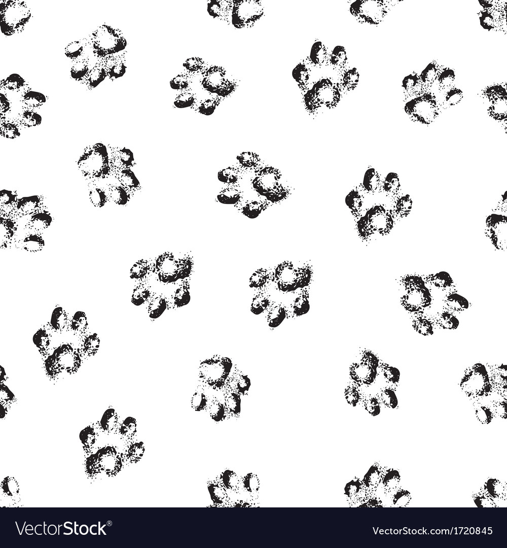 Paw grunge footprint of dog or cat seamless vector image