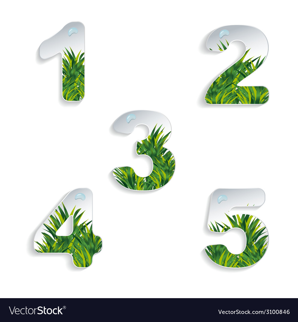Icons 12345 numbers with grass effect and vector image