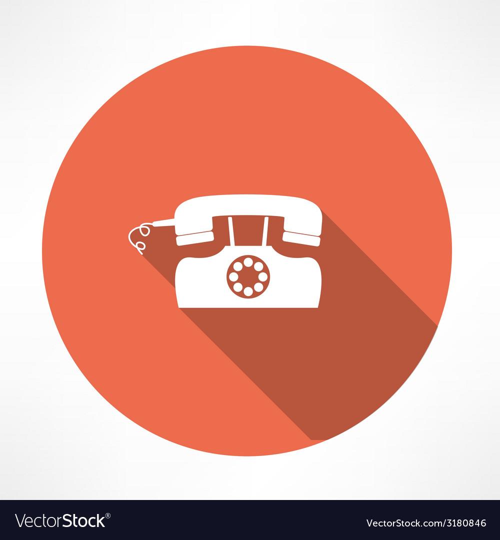 Retro landline phone icon vector image