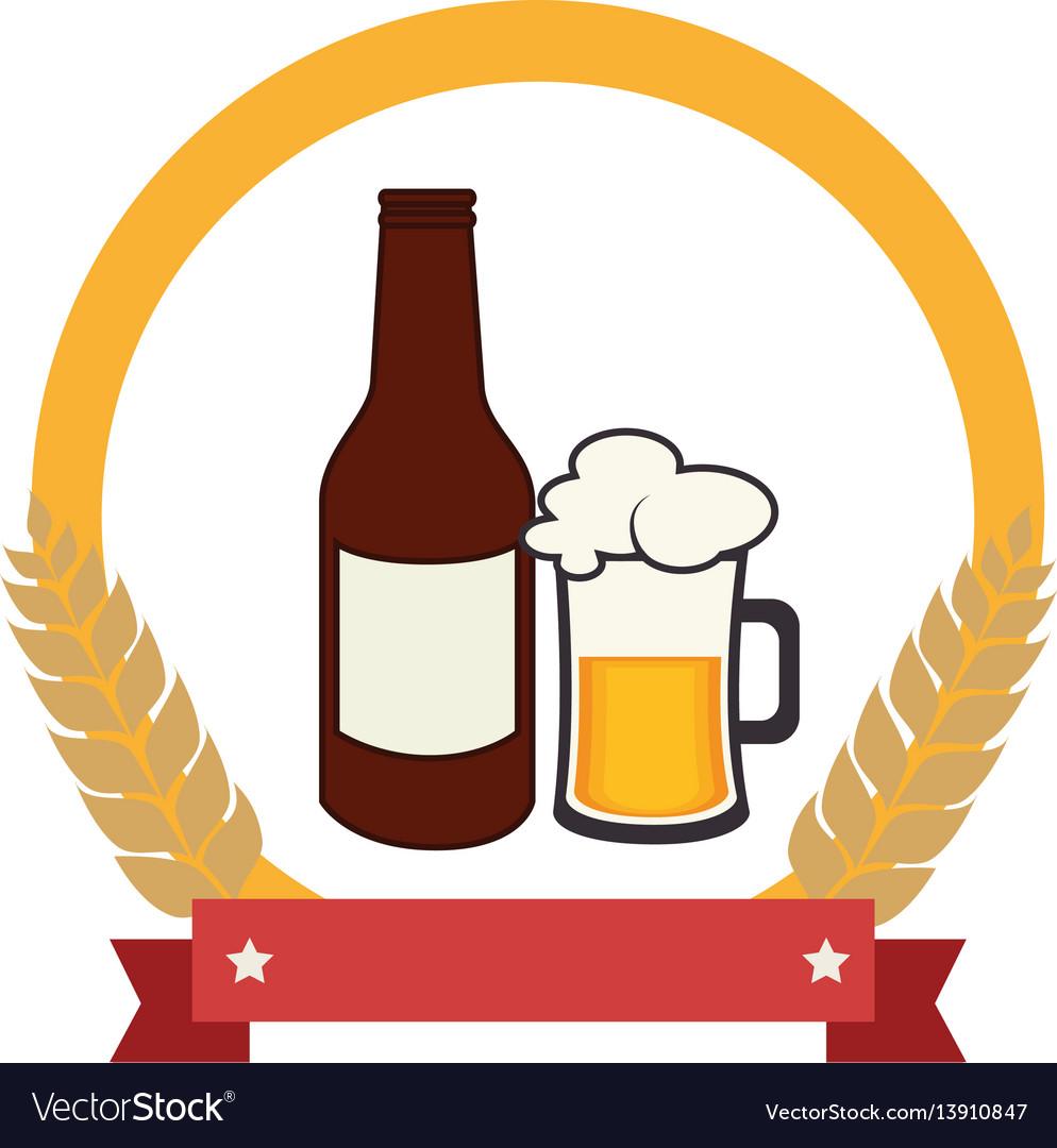Color emblem with beer bottle vector image