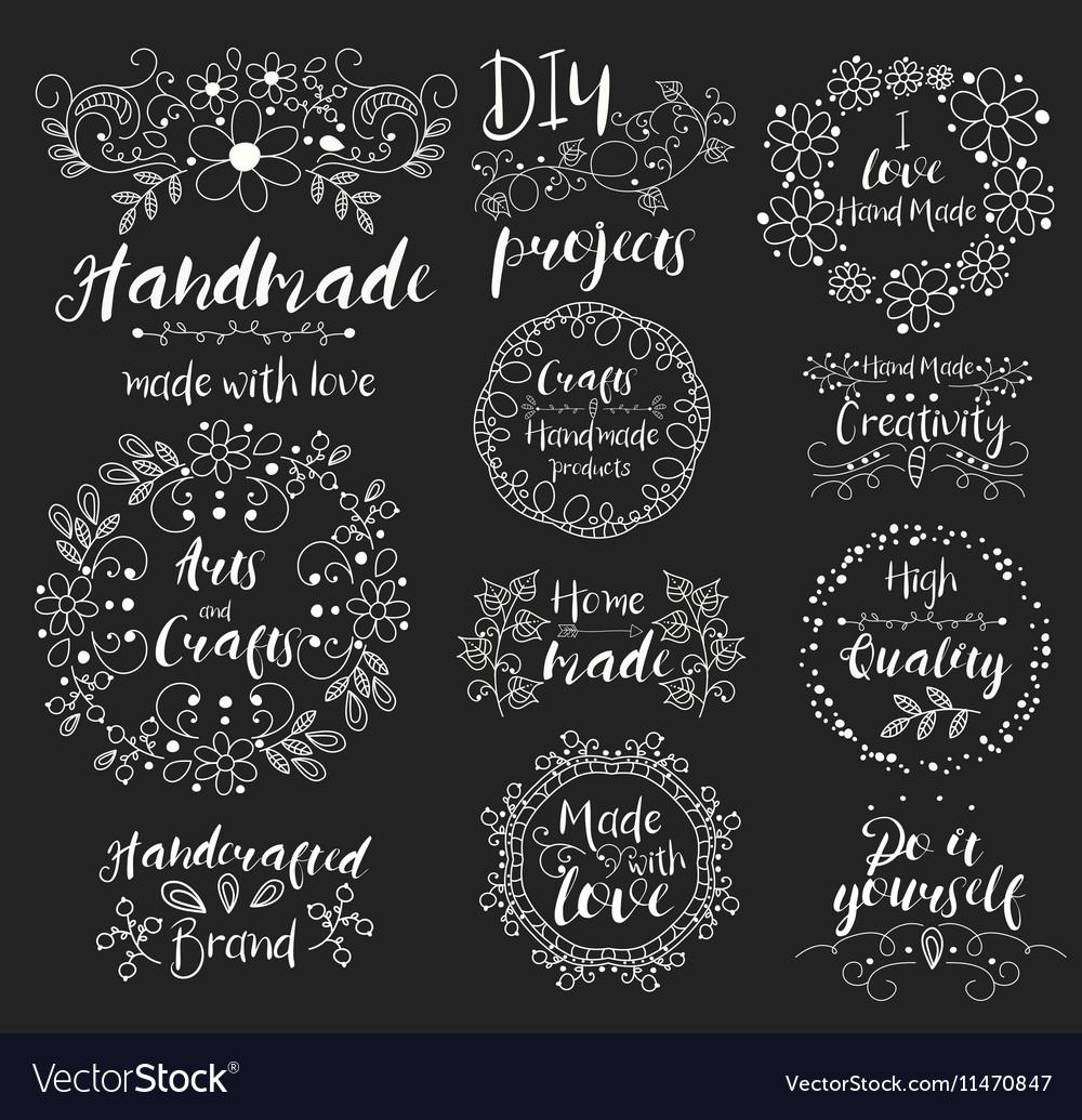 Handmade arts and crafts Insignias logotypes vector image