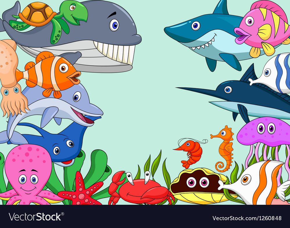 Sea life cartoon background Royalty Free Vector Image