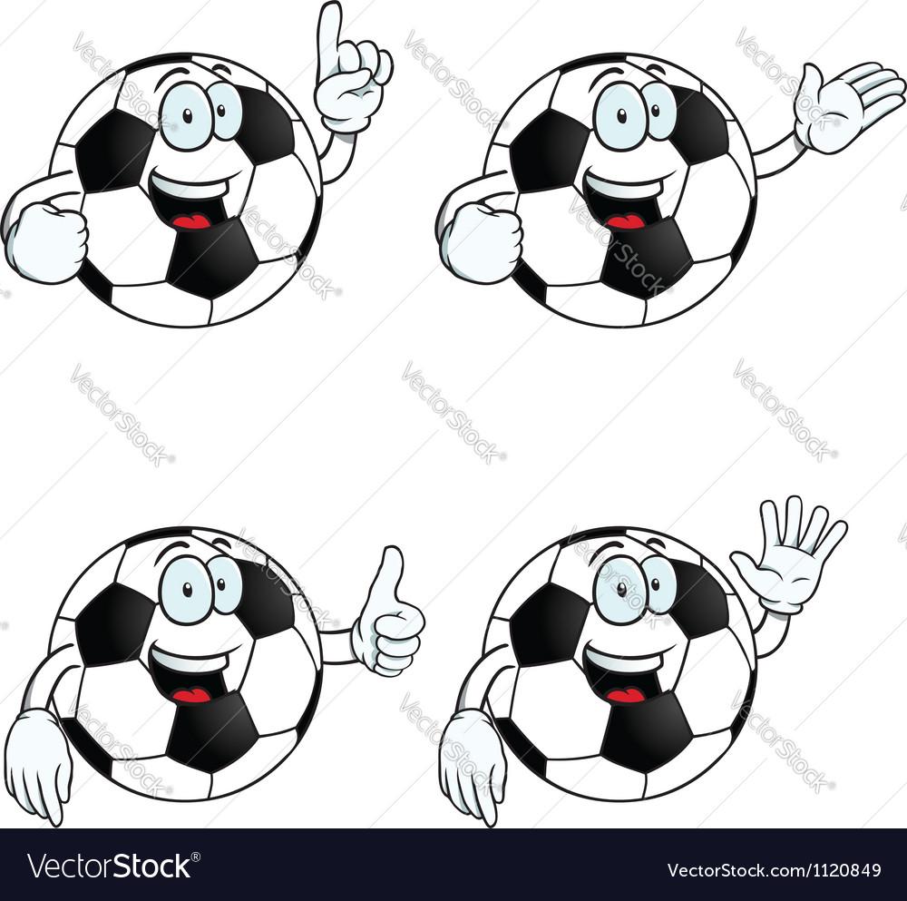 Talking cartoon football set vector image