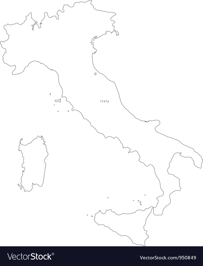 Black White Italy Outline Map vector image