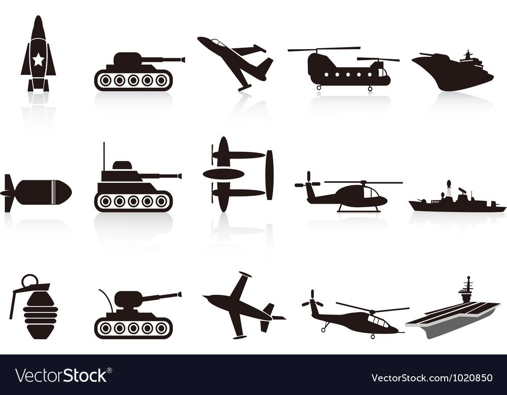 Black war weapon icons set vector image
