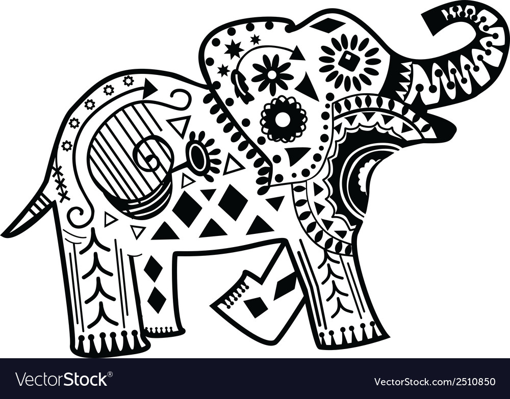 how to draw a mandala elephant