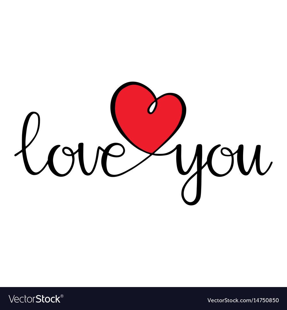 I love you love curly calligraphy sign with heart vector image