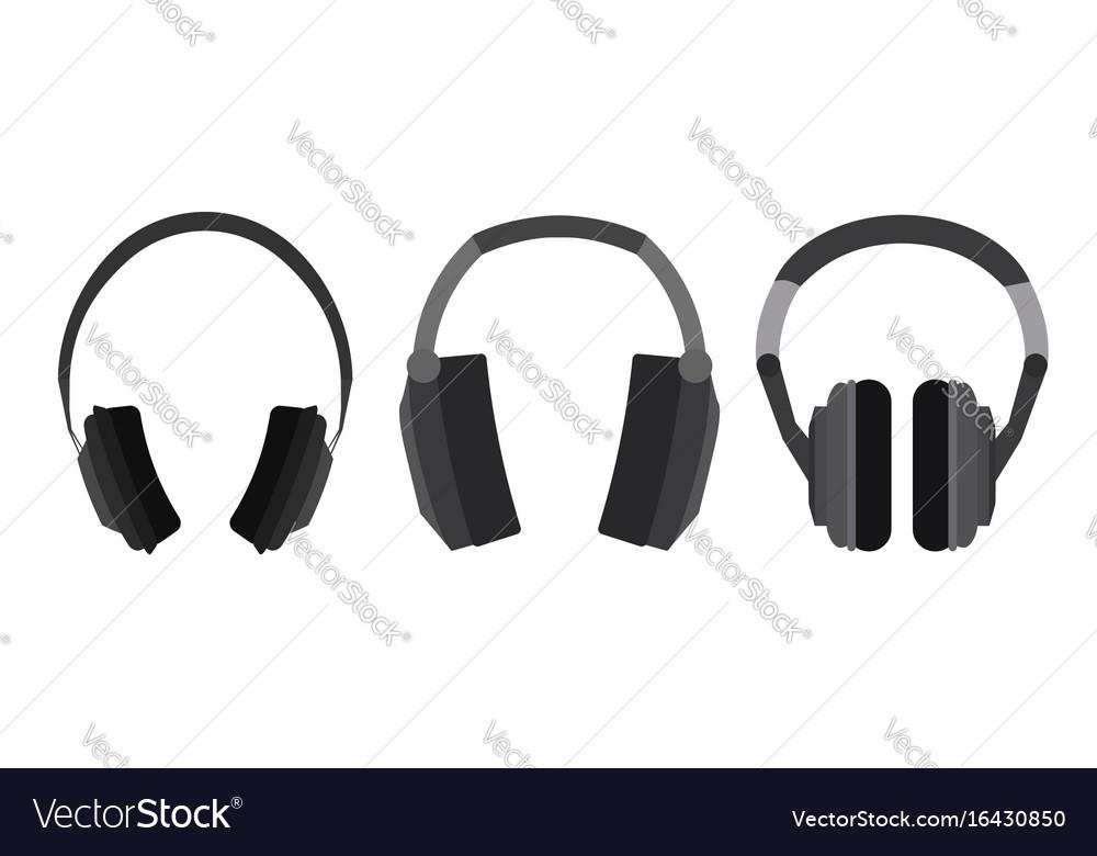 Set of flat headphone vector image