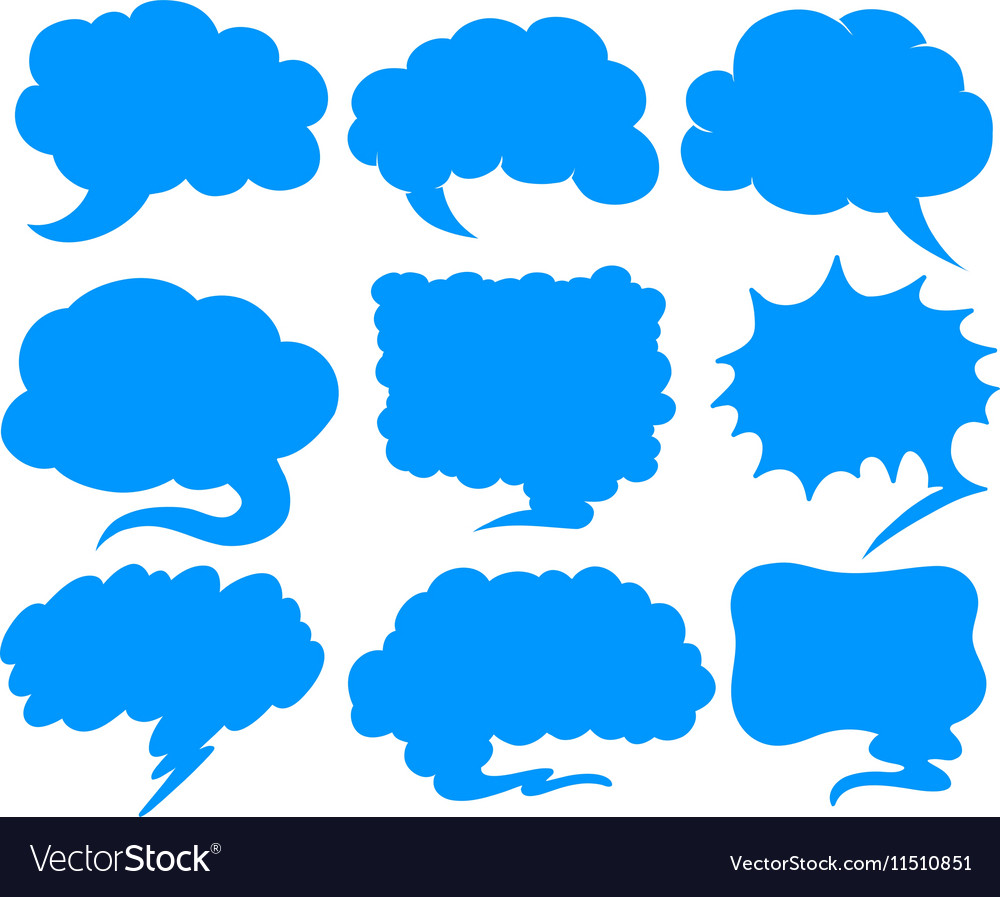 Blue speech bubbles in different shapes vector image