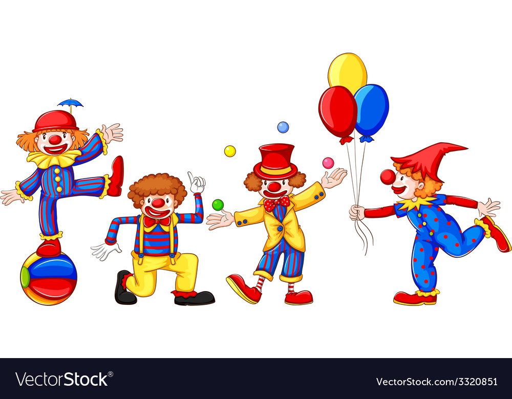 Colourful clowns vector image