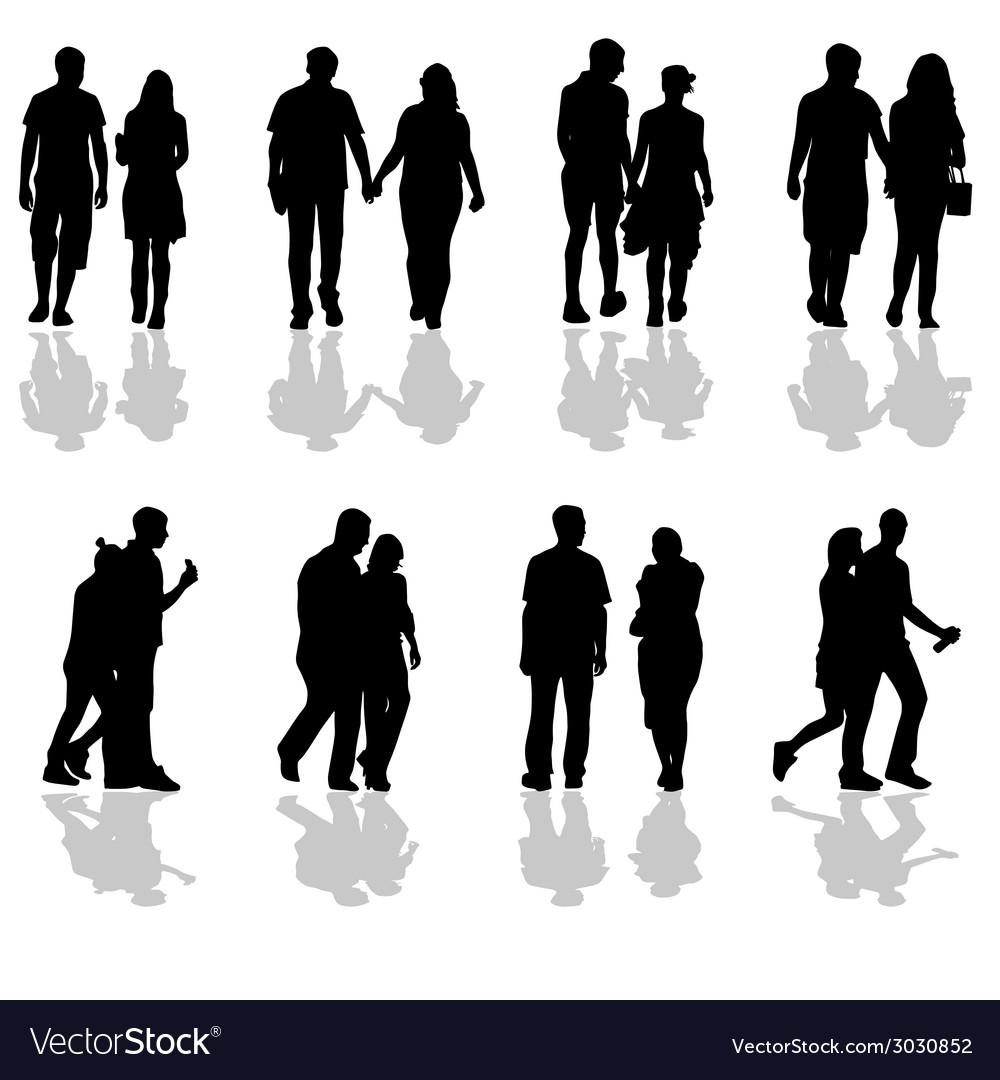 People Walking In Pairs Silhouette Vector Image