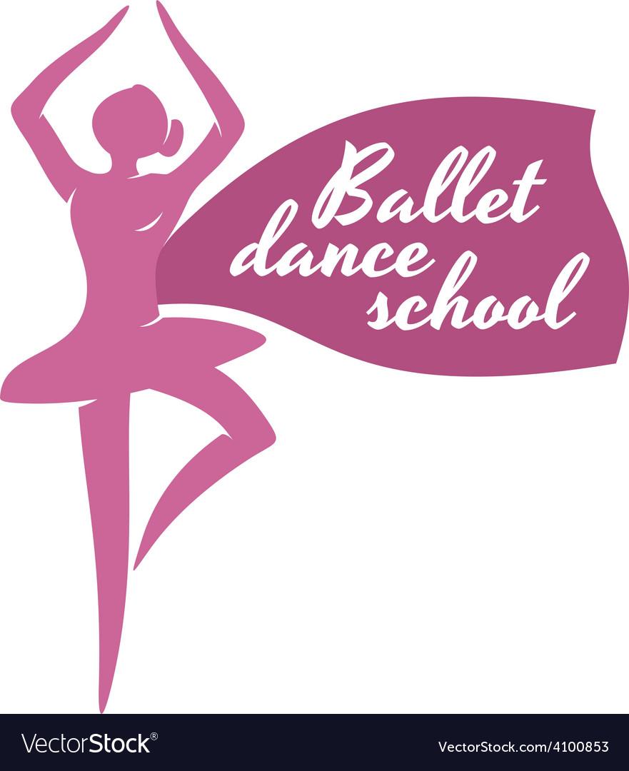 Ballet dance school logo template Ballerina vector image