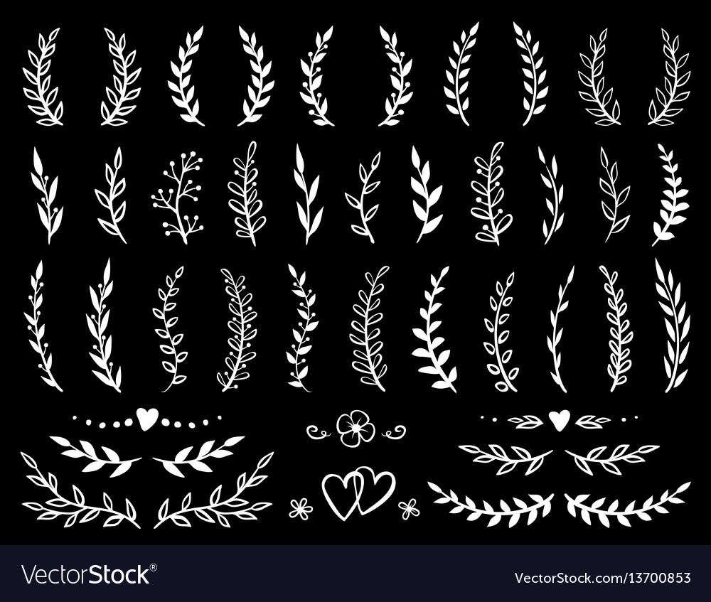 Branches and wreaths set vector image