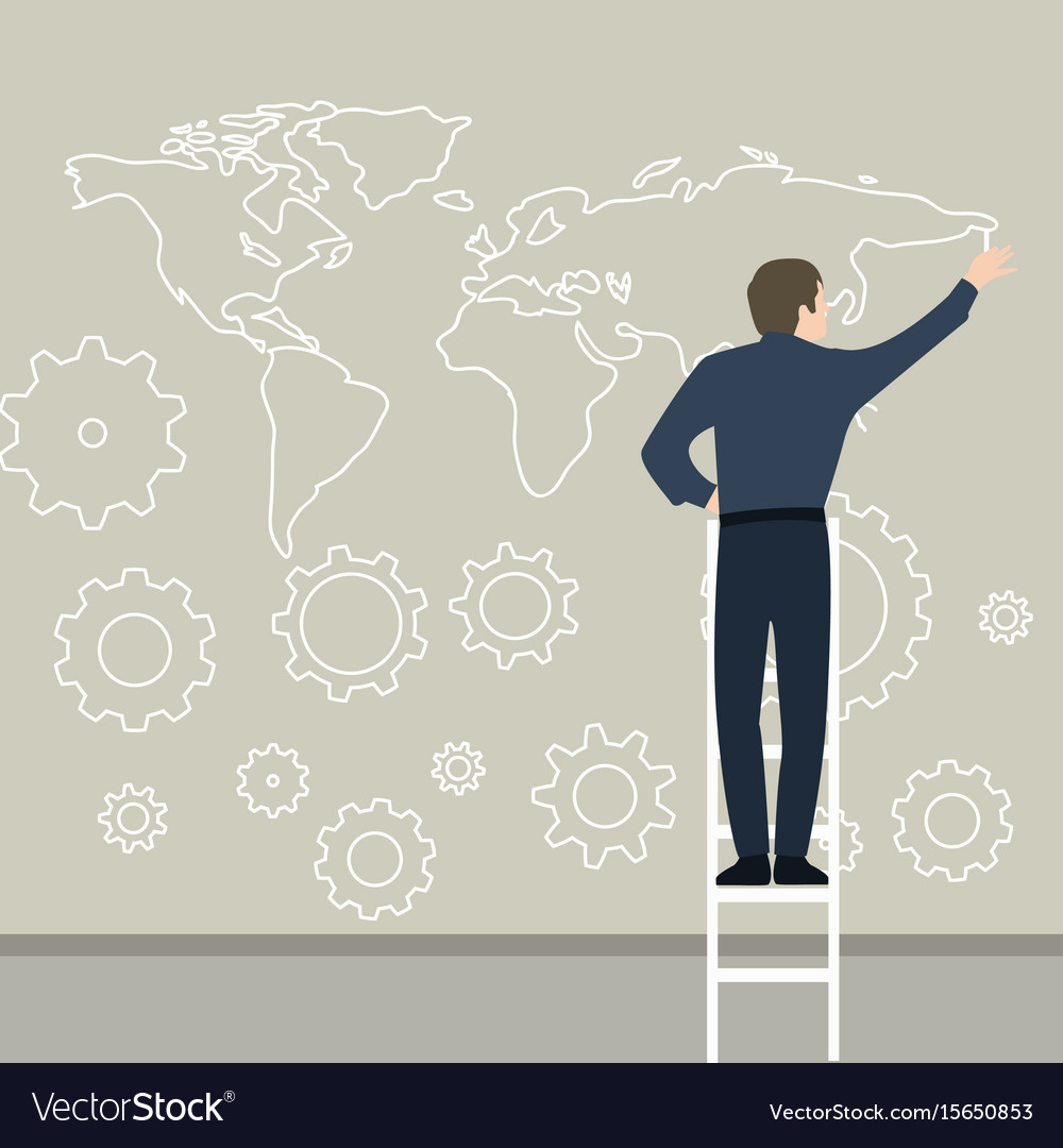 Businessman drawing map on the wall planning vector image