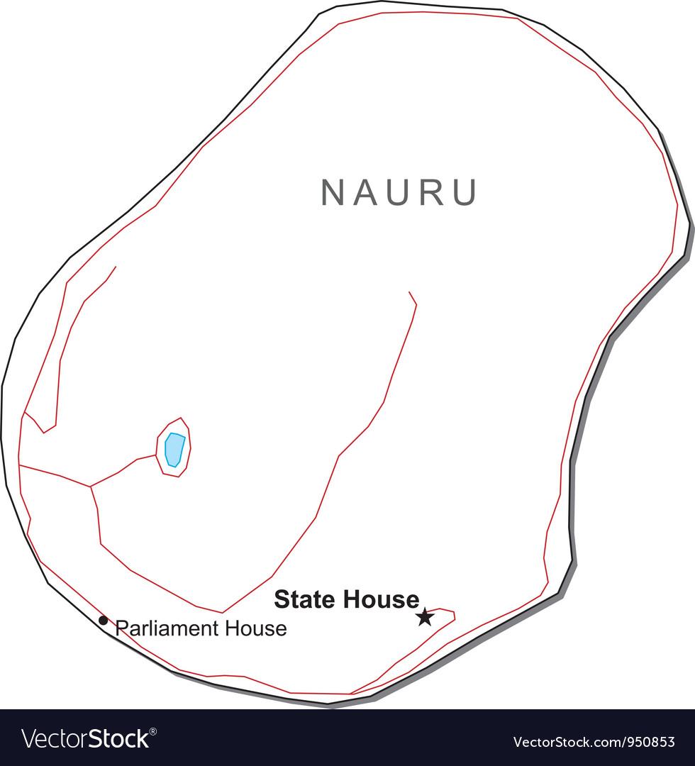 Nauru Black White Map Royalty Free Vector Image - Nauru map vector