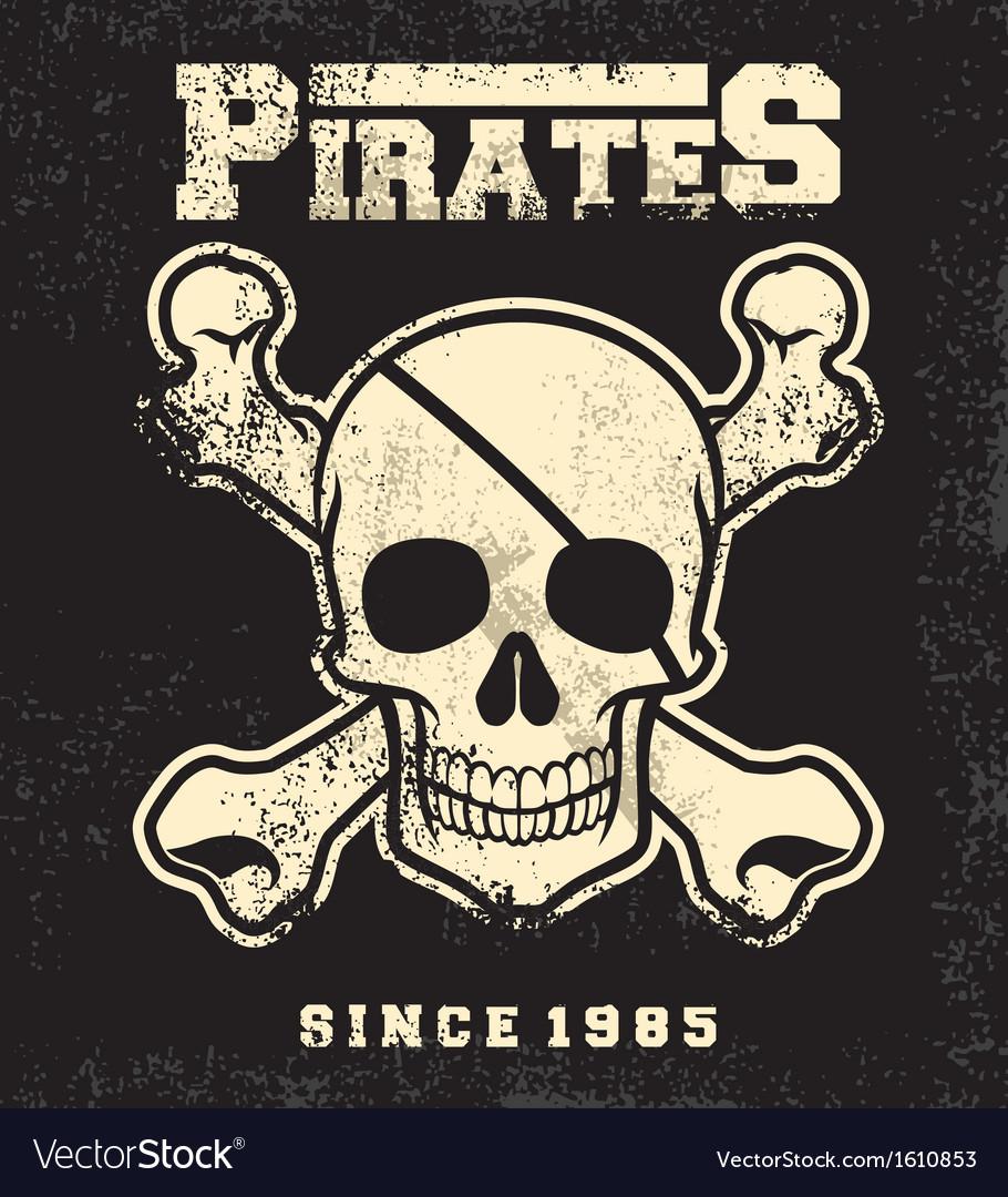 Vintage pirate skull mascot vector image