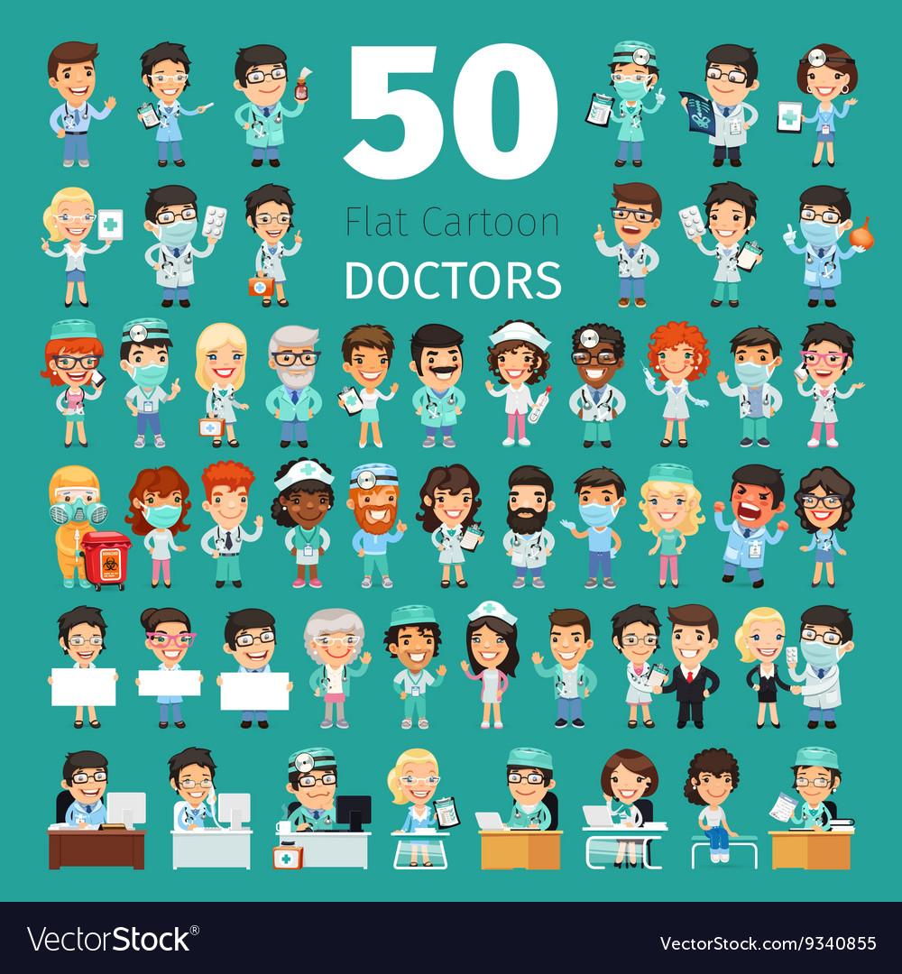 Cartoon Doctors Big Collection vector image