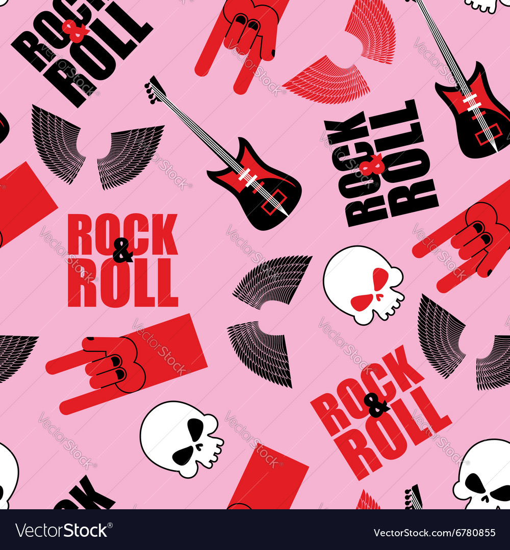 Rock and roll seamless pattern Symbol of rock vector image
