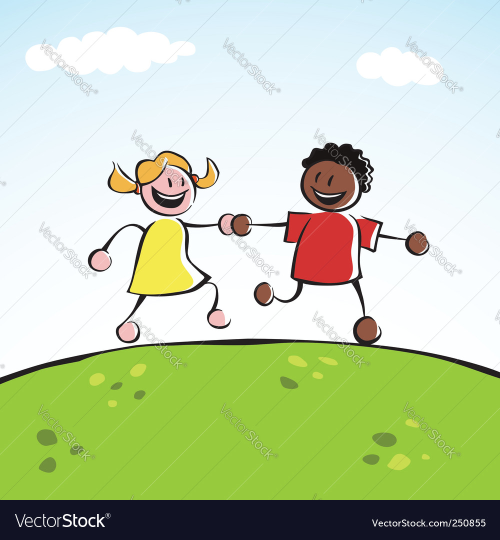 Twokids (boy and girl of different ethnicities) holding hands and running