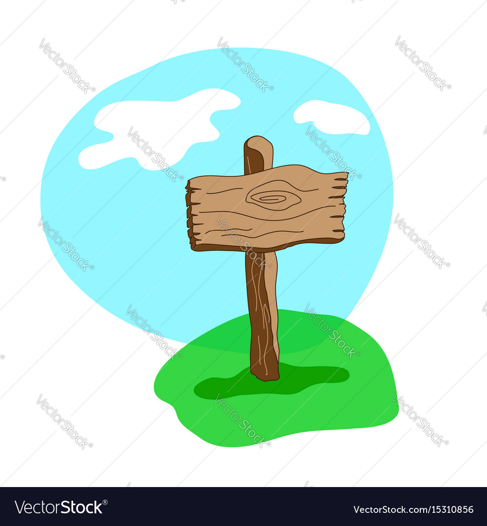 Square cartoon wooden sign in grass vector image