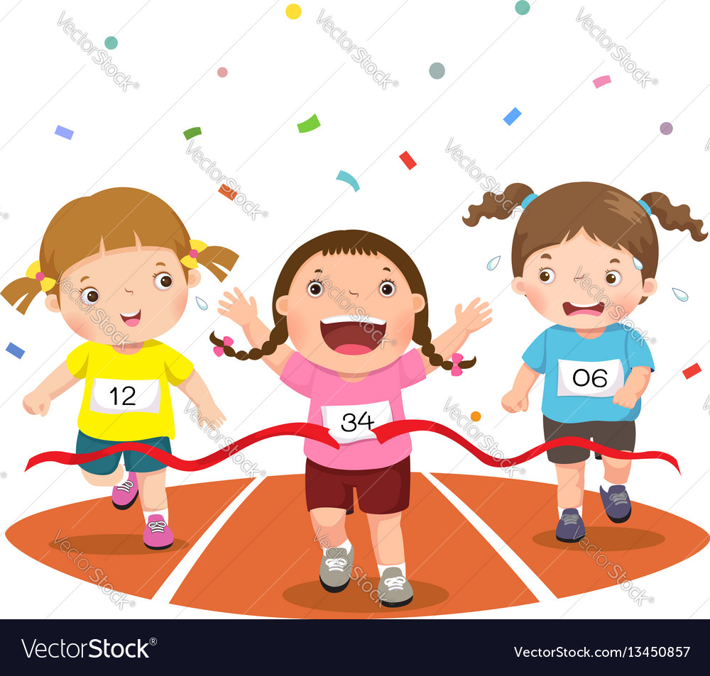 Girls on a race track vector image