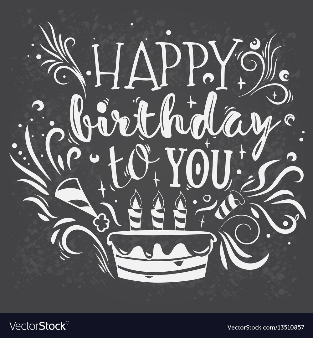 Lettering happy birthday vector image