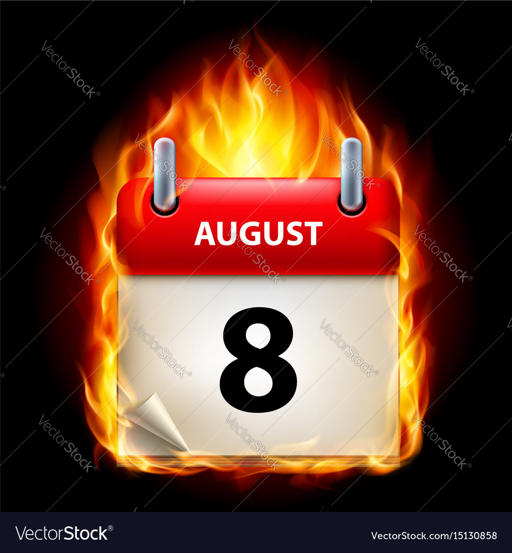 Eighth august in calendar burning icon on black vector image