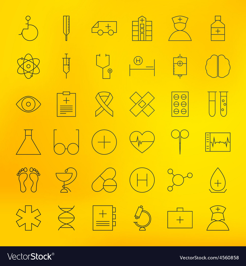 Health Care Line Medical Icons Set vector image