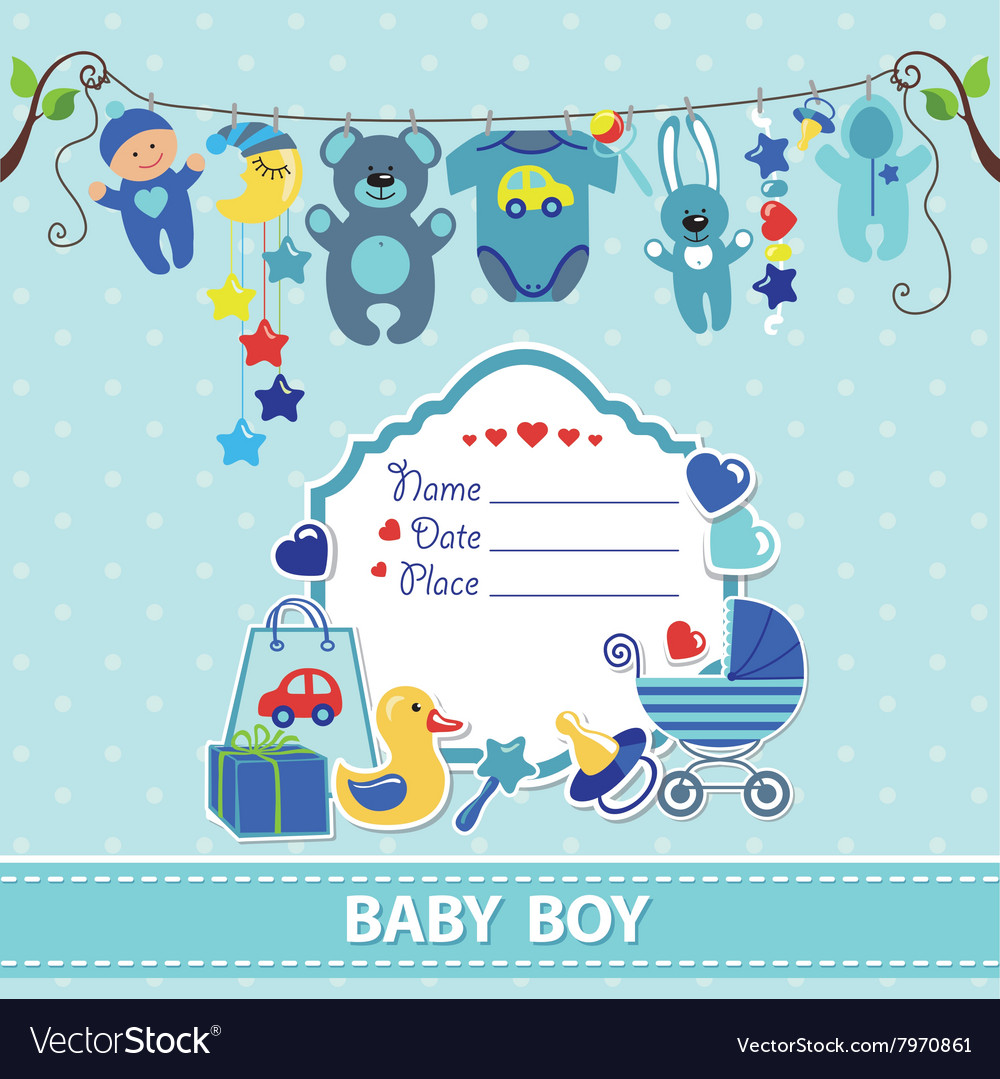 New born baby boy card shower invitation template vector image m4hsunfo Gallery