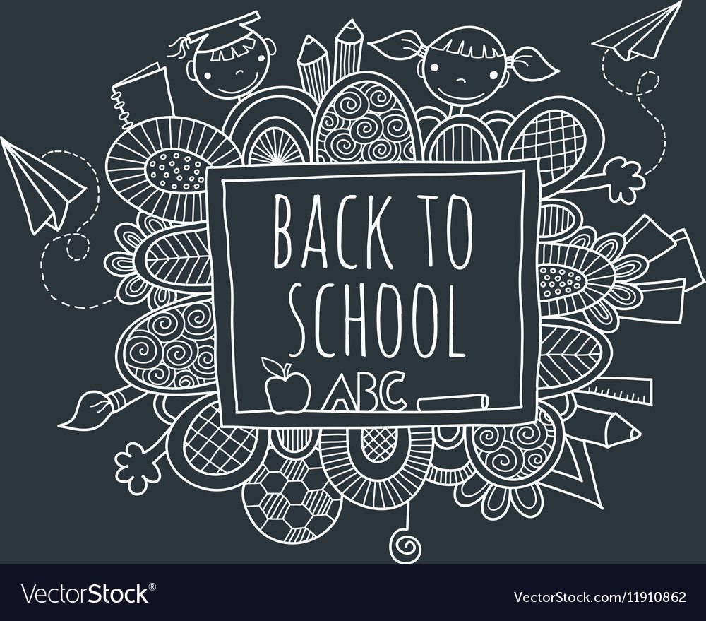 Back to School Blackboard Hand Drawn Doodle vector image