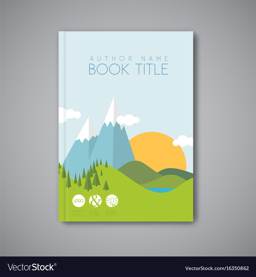 Matched Book Cover Drawing : Book cover design template with flat landscape vector image