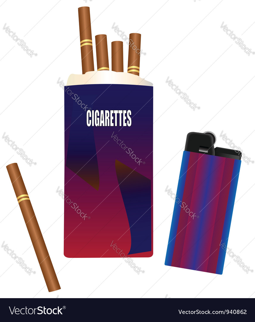 Pack of cigarettes with a lighter vector image
