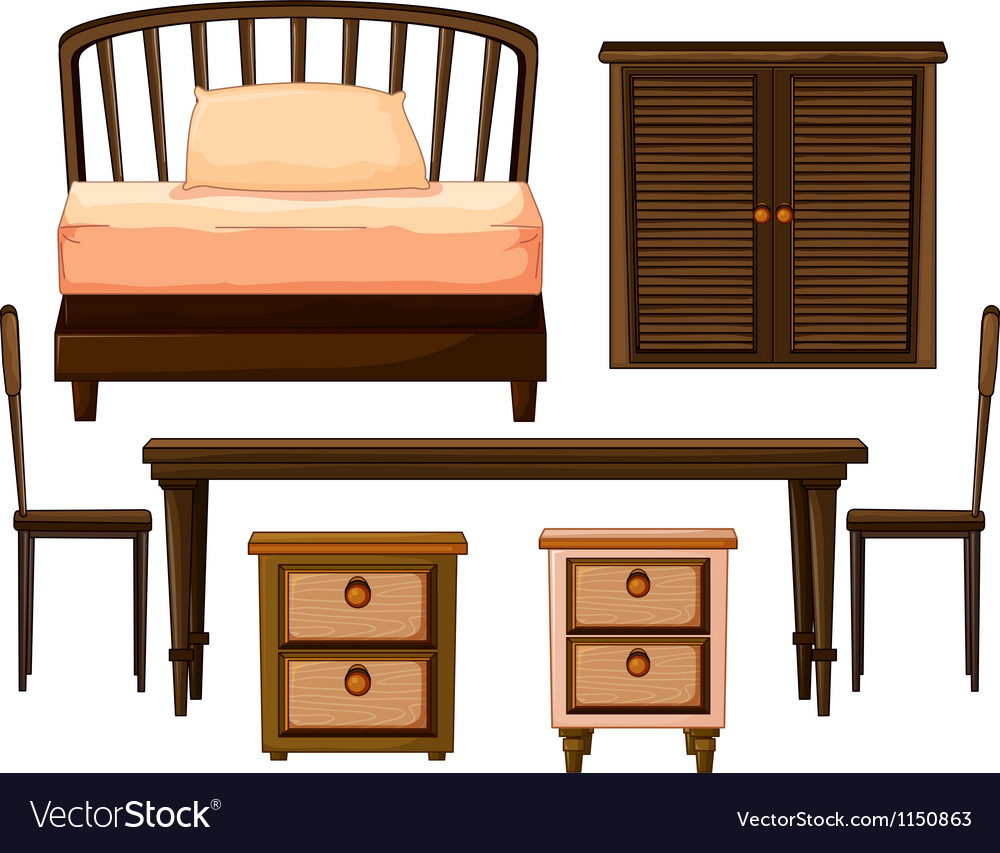 Furnitures made from woods vector image
