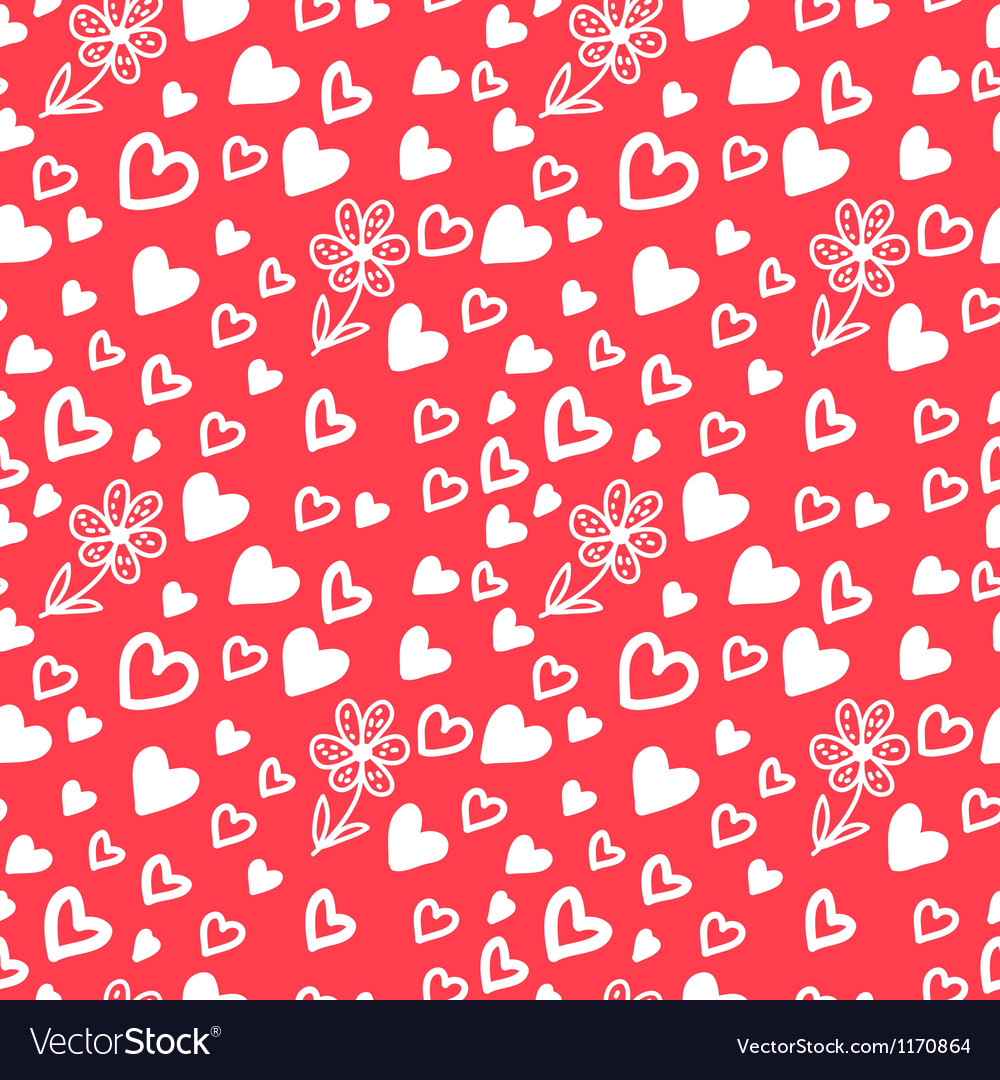 Love Valentins Day Seamless Pattern with Hearts vector image