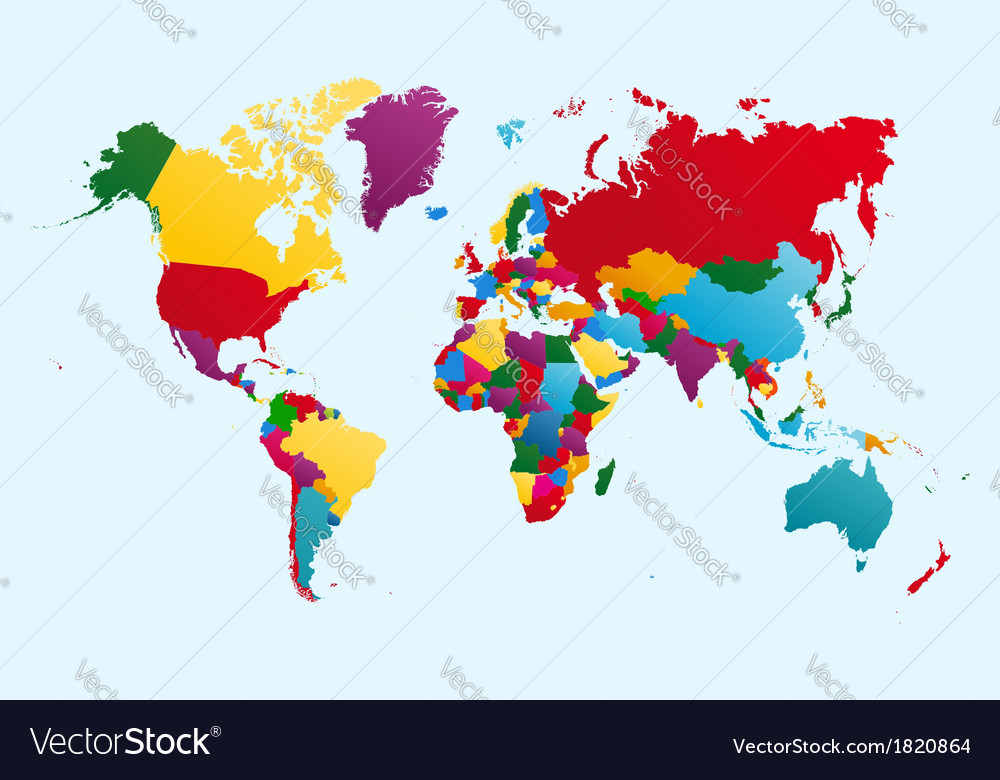 World map colorful countries EPS10 file vector image