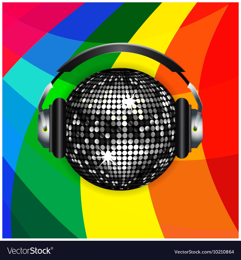 Disco ball and headphones over rainbow background vector image
