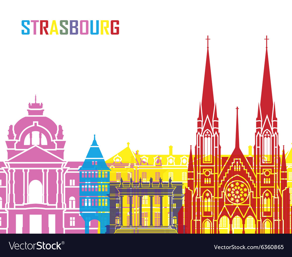 strasbourg skyline pop royalty free vector image. Black Bedroom Furniture Sets. Home Design Ideas