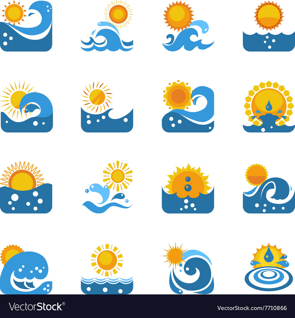 Blue Wave With Sun Icons Set vector image