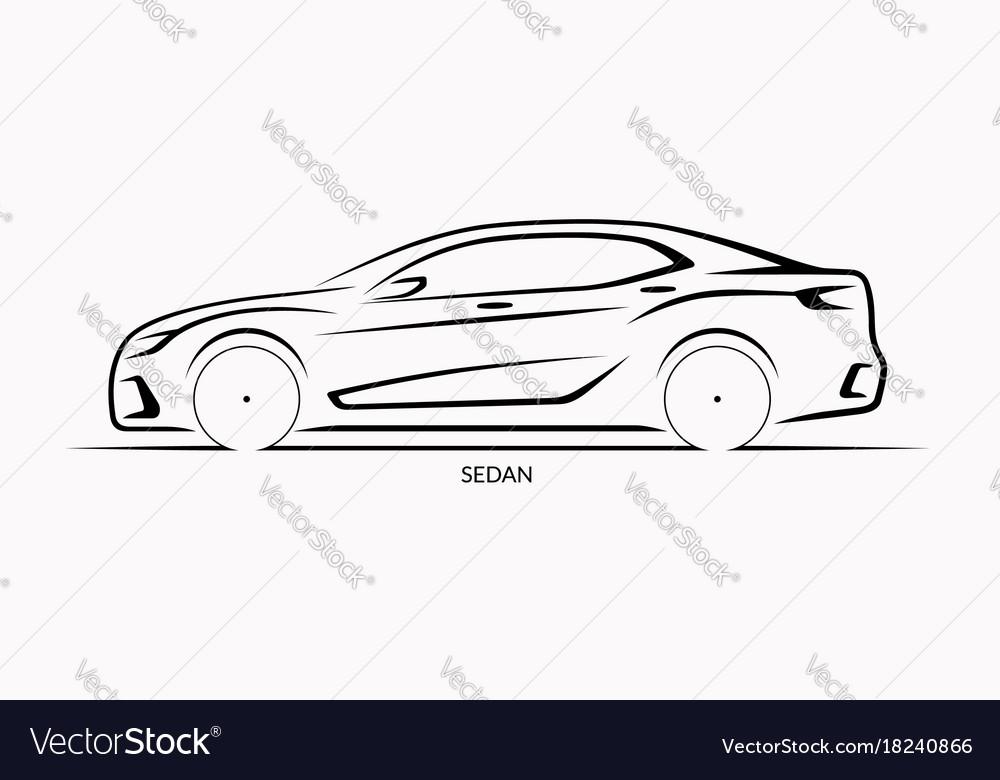 Car silhouette side view of sedan vector image