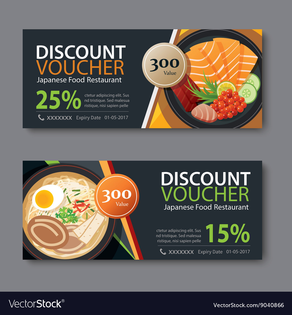 Discount Voucher Template With Japanese Food Vector Image