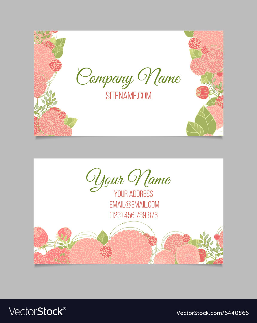 Double-sided floral business card Royalty Free Vector Image